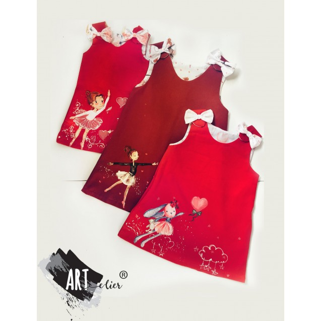 Handpainted Sundress for girls, red with ballerina