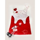 Gift Pack Handpainted Sundress for girls, red with balerina + ARTISTIC KID Painting Set