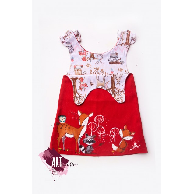 Handpainted Sundress for girls, Red Colour with Forest Animals