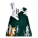 Handpainted Sundress for girls, green with fox