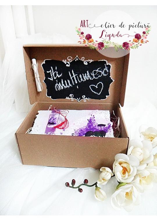 """Cutie cadou """"Iti multumesc"""" liliac"""