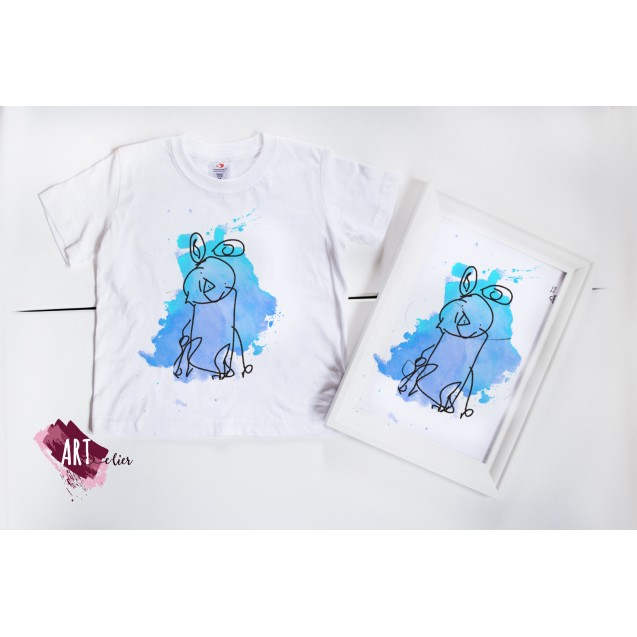 CreARTive Set ARTistic KID - Child T-shirt handpainted + Photo Frame for his/her Room