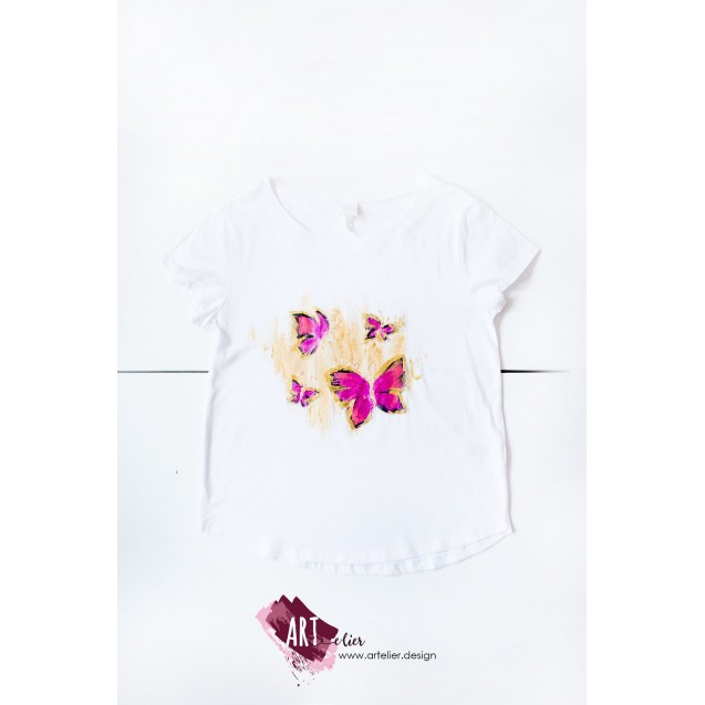Hand-painted women's t-shirt with cyclam butterflies and golden accents