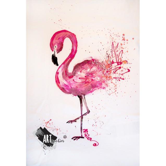 Handpainted ARTistic T-shirt Flamingo Joy