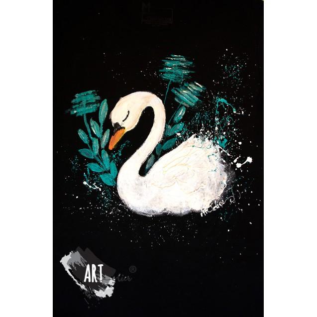 Handpainted T-shirt Swan Dream