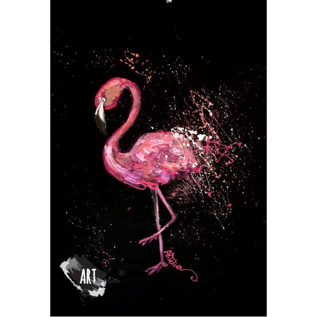 Handpainted T-shirt Flamingo Joy