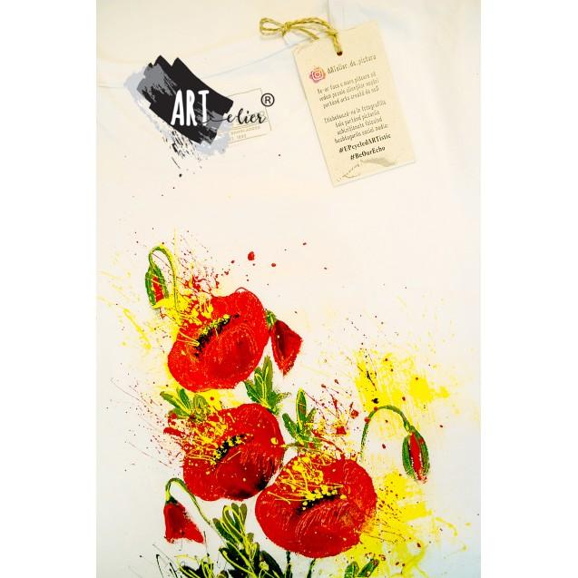 Handpainted T-shirt Splash Poppies