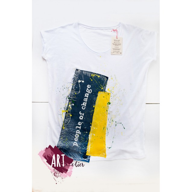 Handpainted T-shirt UPcyled ARTistic People Of Change