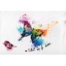 Handpainted Optimistic Woman T-shirt with Rainbow & Butterfly - handpainted