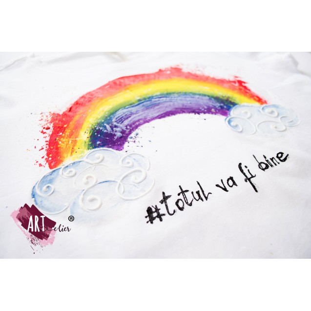 Optimistic T-shirt with Rainbow - handpainted 02