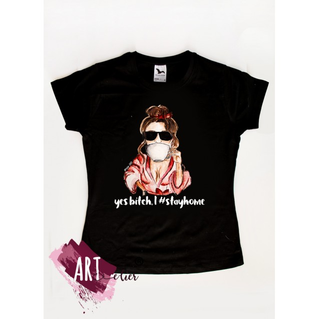 Woman Stayhome T-shirt, Drink Tea and Chil