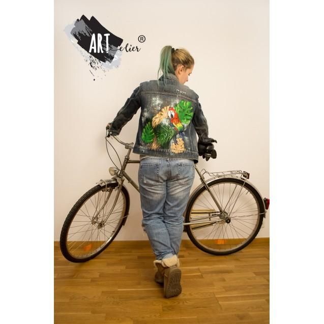 Handpainted Preloved Denim Jacket - Jungle Style