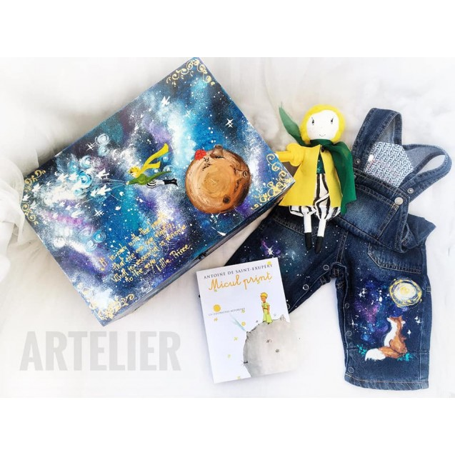 New born BabyARTistic Set Little Prince Themed with upcycled denim overall 3-6l