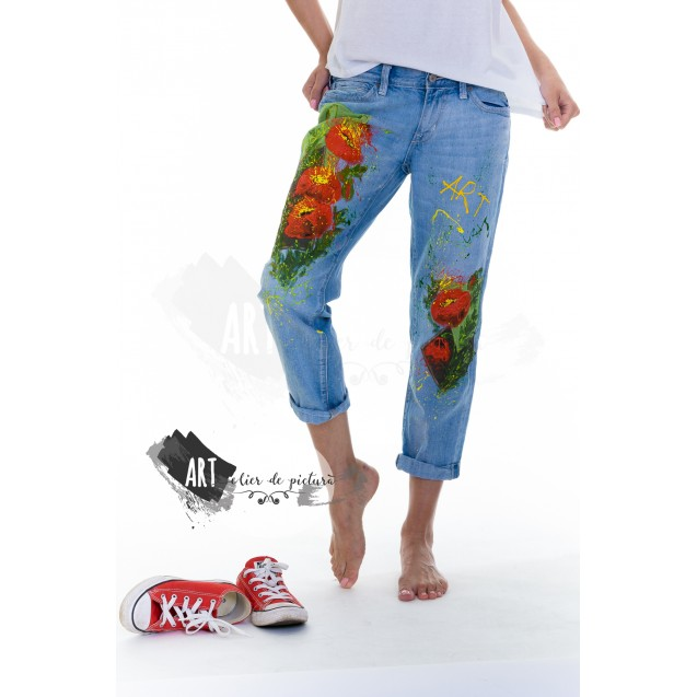 UPcycled ARTistic Jeans Splashy Poppies