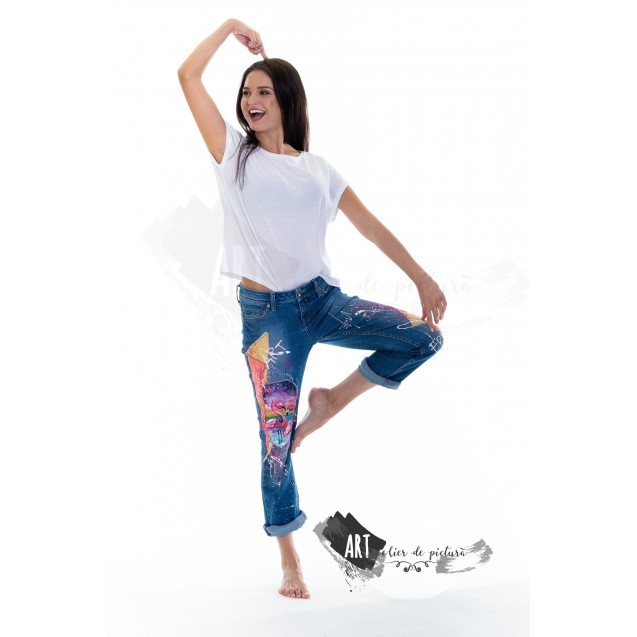 UPcycled ARTistic Jeans Pink Flamingo