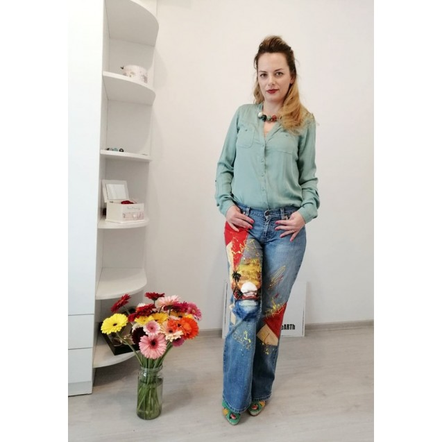 UPcycled ARTistic Jeans Palm Trees