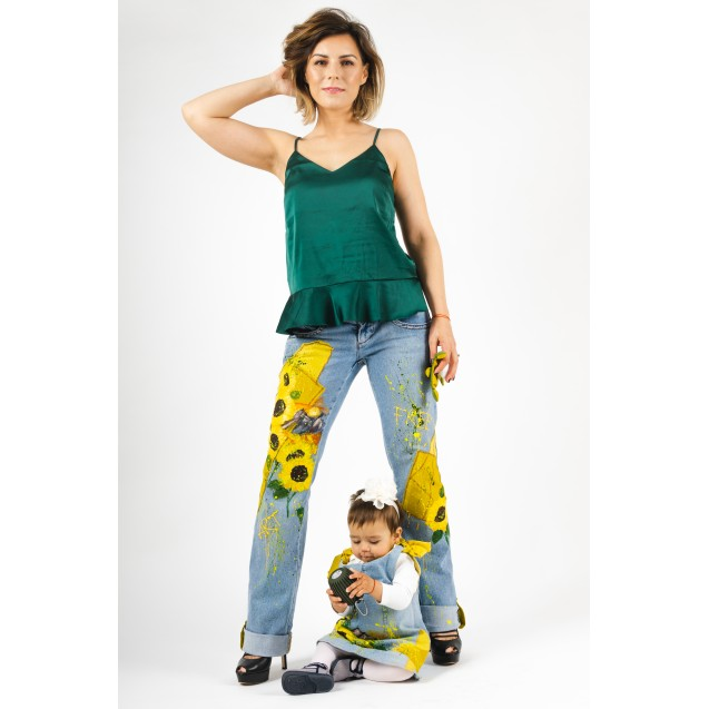 Mother-daughter Upcycled ARTistic Denim Set Sunflower